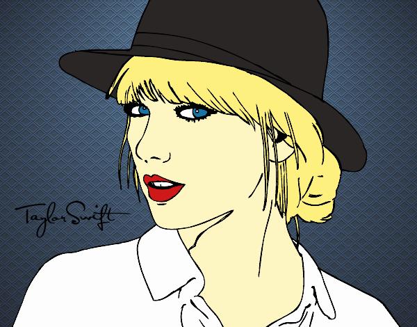 Dibujo De Taylor Swift Con Sombrero Pintado Por En Dibujosnet El