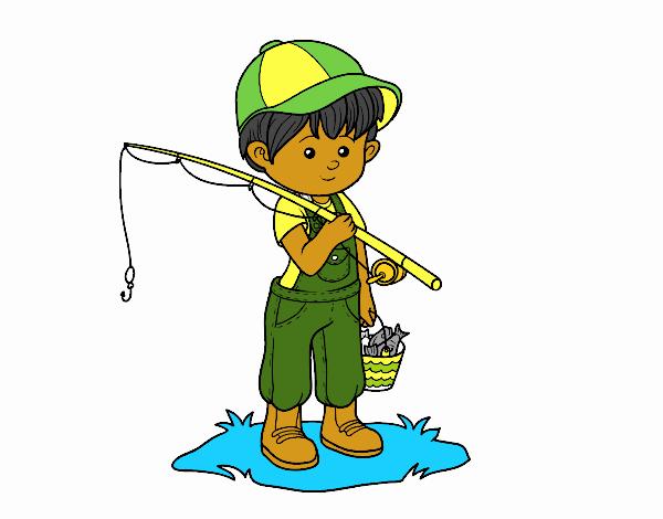 Dibujos Para Colorear Un Pescador: Dibujo De Niño Pescador Pintado Por En Dibujos.net El Día