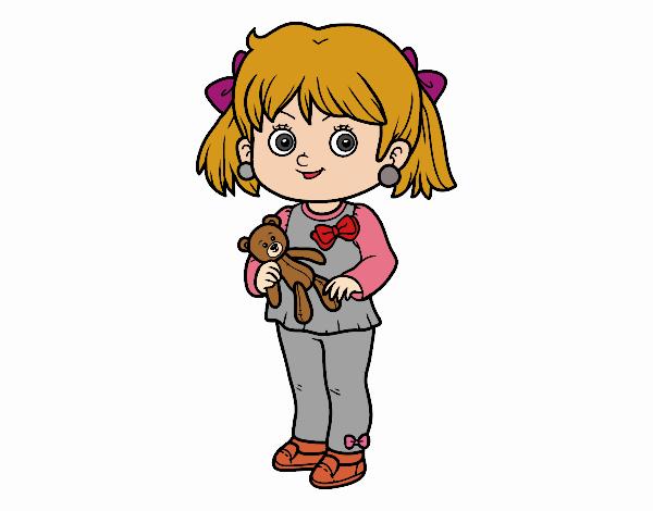 Dibujo de Niña con oso de peluche pintado por en Dibujos.net el día ...