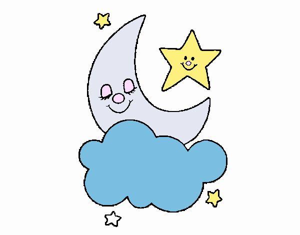 Dibujos De Estrellas Para Colorear E Imprimir: Dibujo De Luna Y Estrellas Pintado Por En Dibujos.net El
