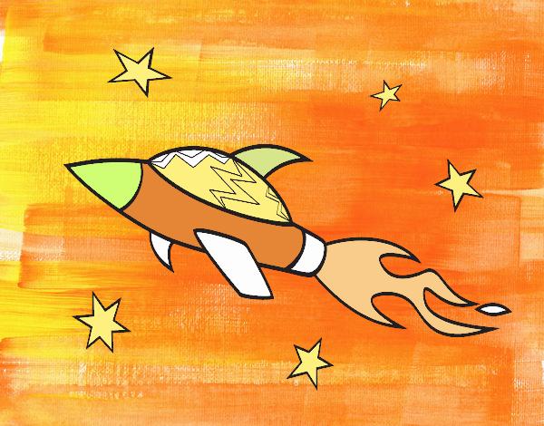 Cohete De Espacio De Dibujos: Dibujo De Nave Cohete Espacial Pintado Por En Dibujos.net