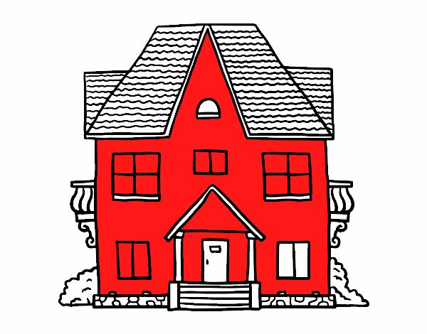 Dibujos Para Colorear De Casas De Campo: Dibujo De Casa De Campo Con Balcones Pintado Por En