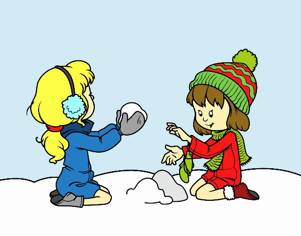 Dibujo De Niñas Jugando Con La Nieve Pintado Por En Dibujosnet El