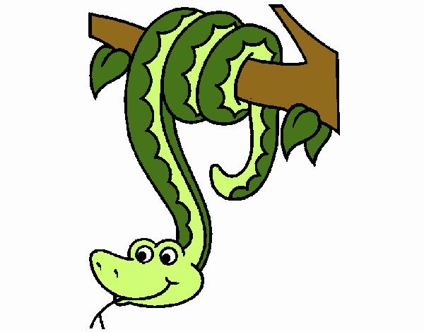 Dibujo de Serpiente colgada de un árbol pintado por en Dibujos.net ...