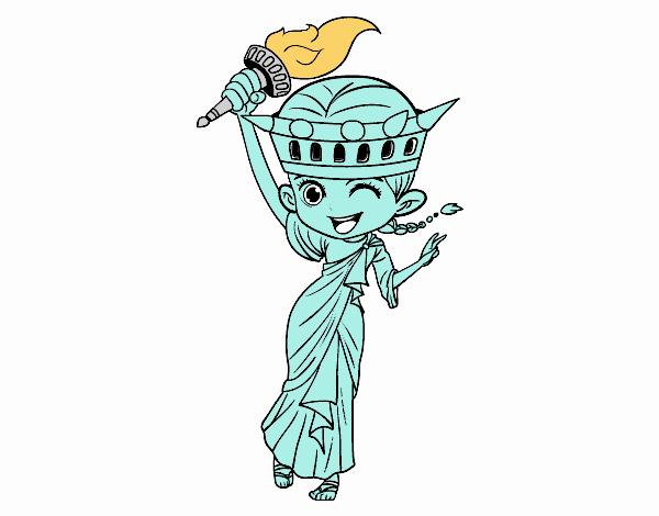 Dibujo De Estatua De La Libertad Manga Pintado Por En