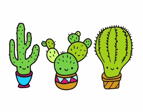 Dibujo de 3 mini cactus pintado por en Dibujos.net el día 01-10-18 a ...