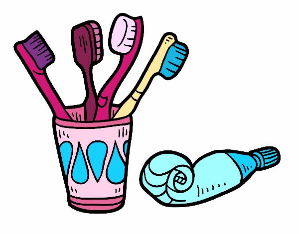 Dibujo De Cepillo Y Pasta De Dientes Para Colorear Dibujos
