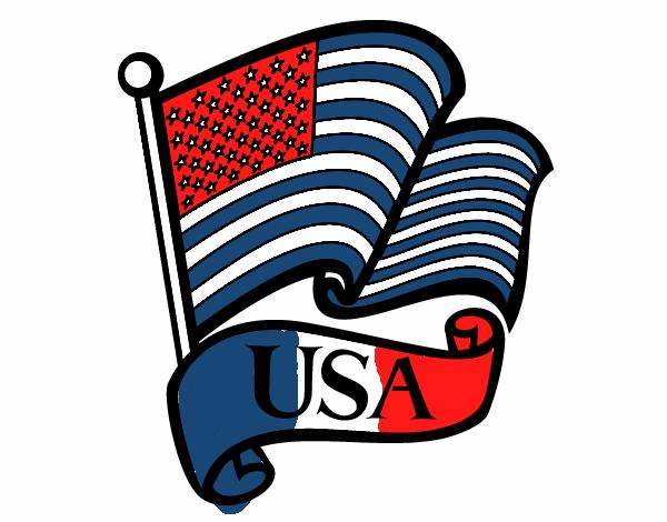 Dibujo De Bandera De Los Estados Unidos Pintado Por En Dibujosnet