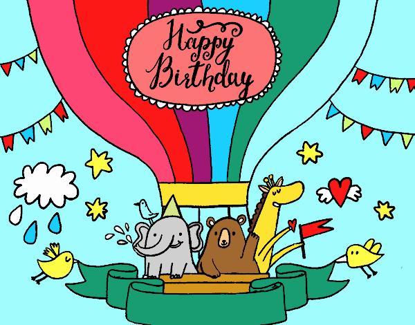 Carteles Y Tarjetas De Feliz Cumpleaños Para Colorear: Dibujo De Feliz Cumpleaños Para Colorear Dibujosnet
