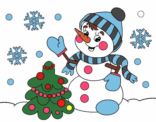 Dibujo De Postal De Navidad Muneco De Nieve Pintado Por En Dibujos - Postales-navidad-dibujos