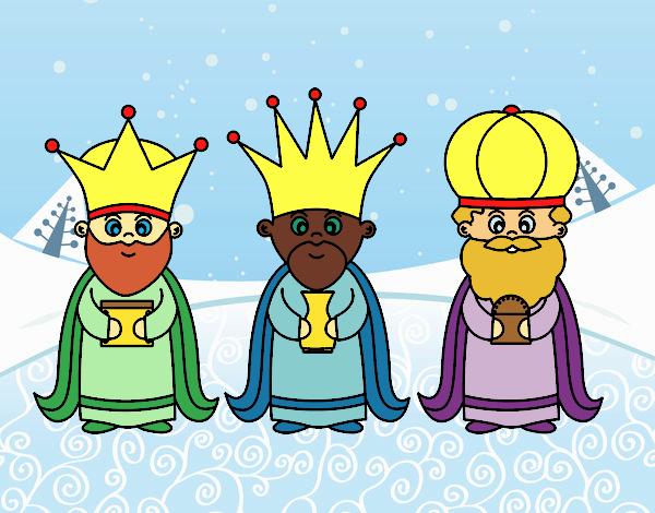 Dibujos De Reyes Magos Coloreados: Dibujo De Los 3 Reyes Magos Pintado Por En Dibujos.net El