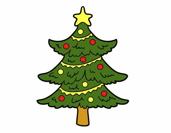 Dibujo De árbol De Navidad Decorado Pintado Por En Dibujos