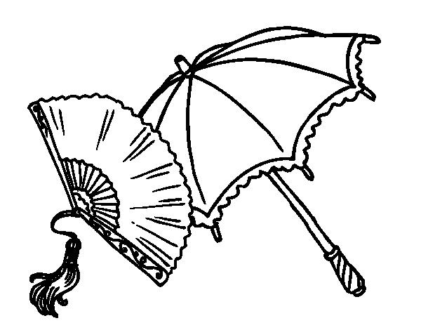 Dibujo de Abanico y paraguas para Colorear   Dibujos.net