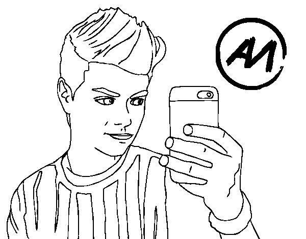 Dibujo de Abraham Mateo selfie para Colorear - Dibujos.net