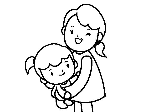 Dibujo de Abrazo con mamá para Colorear - Dibujos.net