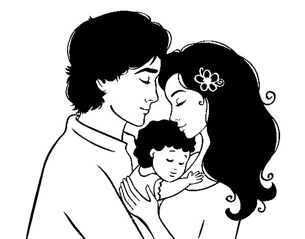 Dibujo de Abrazo familiar para Colorear - Dibujos.net