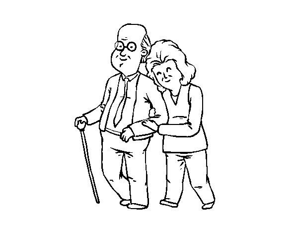 Dibujo de Abuelos felices para Colorear - Dibujos.net