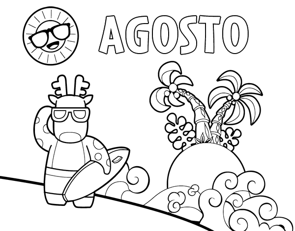 Dibujo de Agosto para Colorear - Dibujos.net