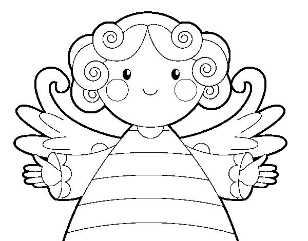 Dibujo de Ángel de navidad para Colorear - Dibujos.net