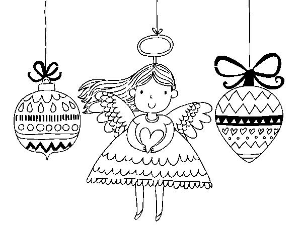 Dibujo De Angeles Y Bolas De Navidad Para Colorear Dibujos Net