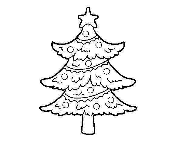 Dibujo De árbol De Navidad Decorado Para Colorear Dibujosnet