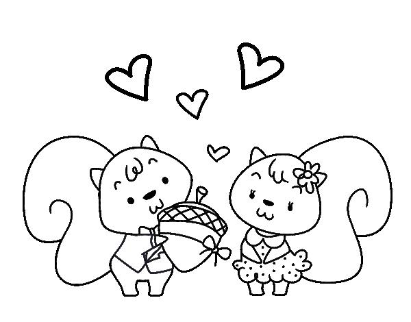 Dibujo de Ardillas enamoradas para Colorear - Dibujos.net