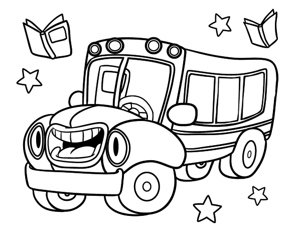 Dibujo De Autobús Animado Para Colorear Dibujosnet