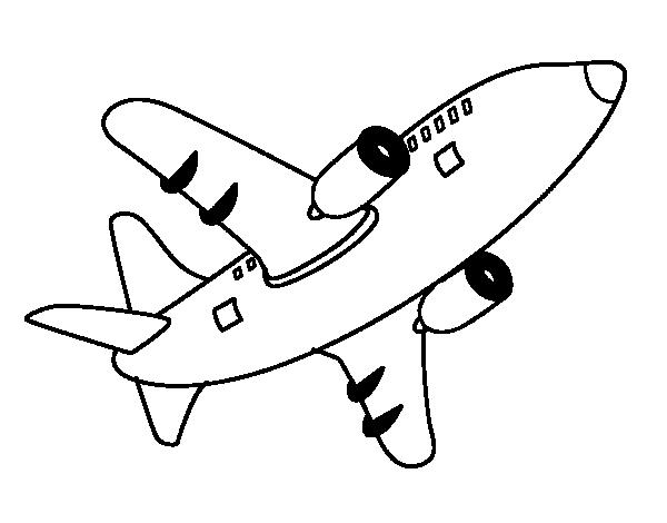 Dibujo De Avión Alzando El Vuelo Para Colorear Dibujosnet