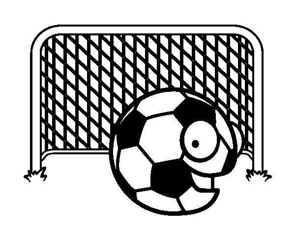 Dibujo de Balón en la portería para Colorear - Dibujos.net