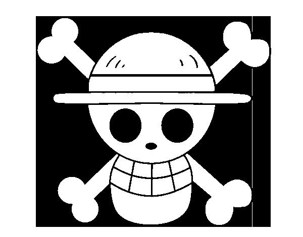 Dibujo de Bandera del Sombrero de paja para Colorear - Dibujos.net