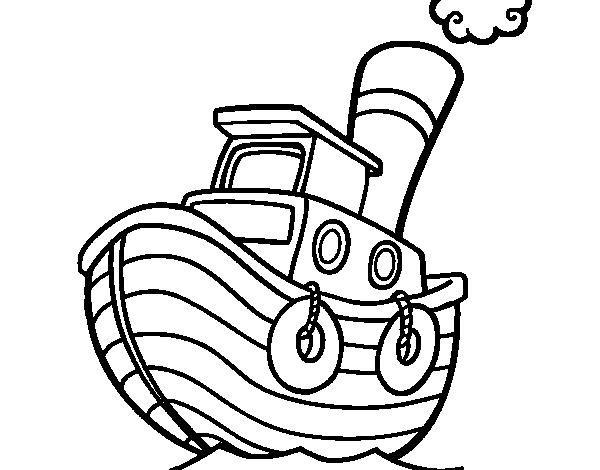 Dibujo de Barco de madera para Colorear - Dibujos.net
