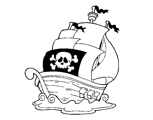 Dibujo de Barco de piratas para Colorear - Dibujos.net