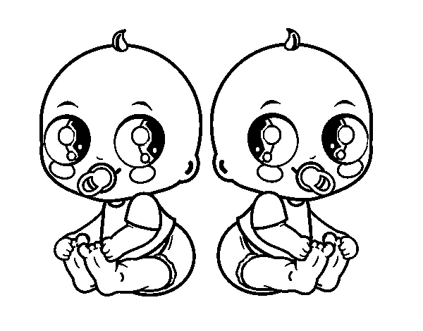 Dibujo De Bebés Gemelos Para Colorear Dibujosnet