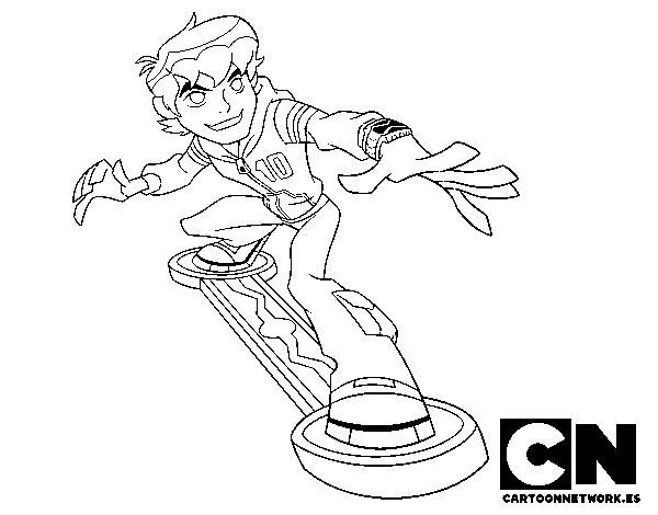 Dibujo de Ben 10 skateboard para Colorear - Dibujos.net