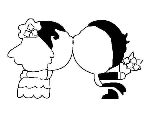 Dibujo de Beso de recién casados para Colorear - Dibujos.net