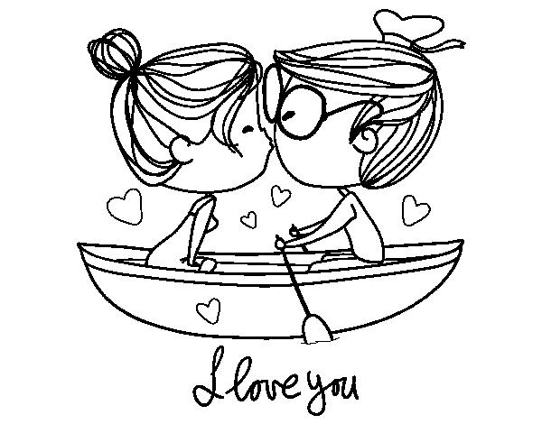 Dibujo de Beso en un bote para Colorear - Dibujos.net