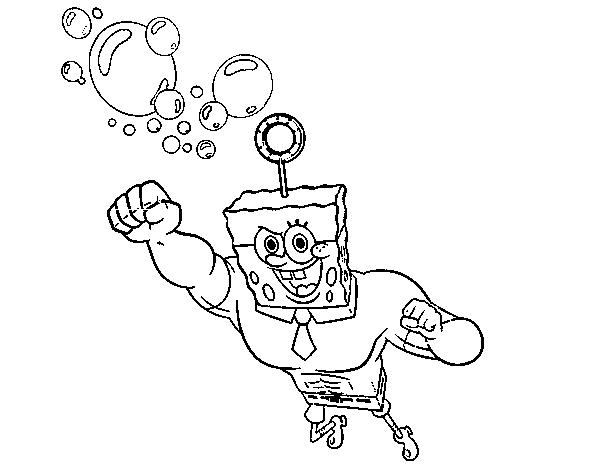 Dibujo de Bob Esponja - La burbuja invencible al ataque para ...