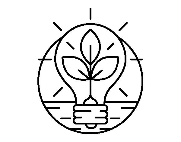 Dibujo de Bombilla con hojas para Colorear - Dibujos.net