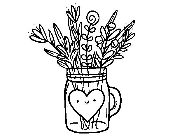 Dibujo de Bote con flores silvestres y un corazón para Colorear ...