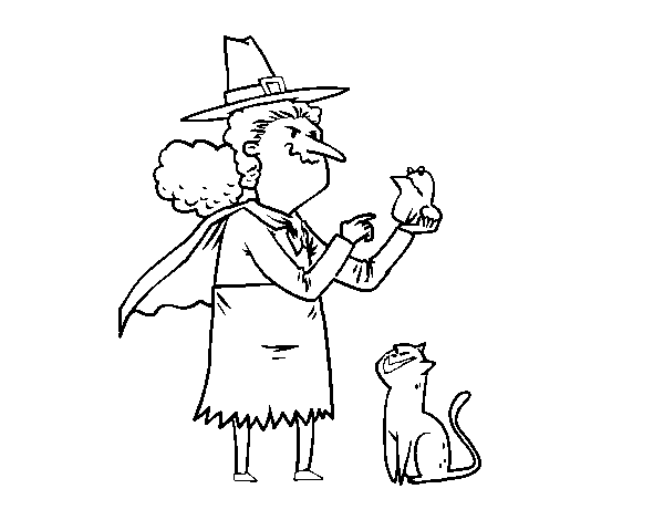Dibujo de Bruja malvada con rana para Colorear - Dibujos.net