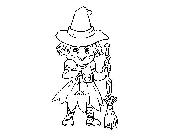 Dibujo De Cara De Bruja Para Colorear: Dibujo De Brujita De Halloween Para Colorear