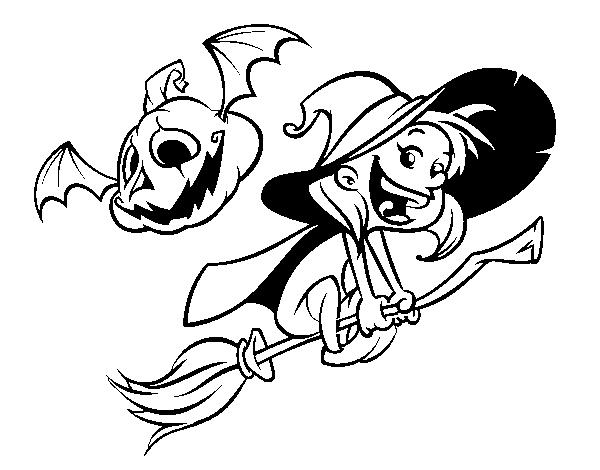Dibujo de Brujita y calabaza de Halloween para Colorear - Dibujos.net