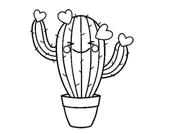 Dibujo De Cactus Corazón Para Colorear Dibujosnet