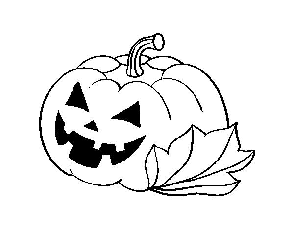 Dibujo de Calabaza Decorada de Halloween para Colorear - Dibujos.net