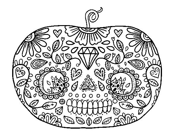 Dibujo de Calabaza del día de los muertos para Colorear - Dibujos.net