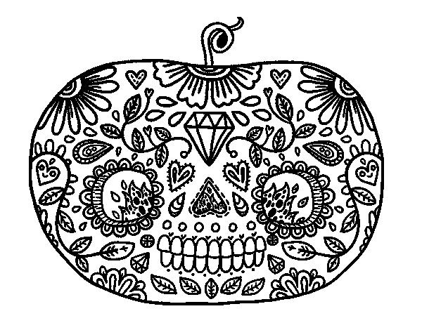 Dibujo De Calabaza Del Día De Los Muertos Para Colorear Dibujosnet