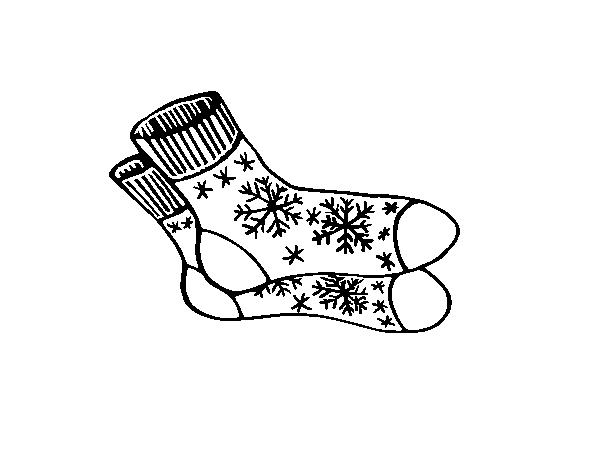 Dibujo de Calcetines de invierno para Colorear - Dibujos.net