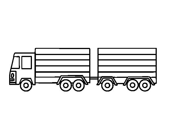 Dibujo de Camión con remolque para Colorear - Dibujos.net