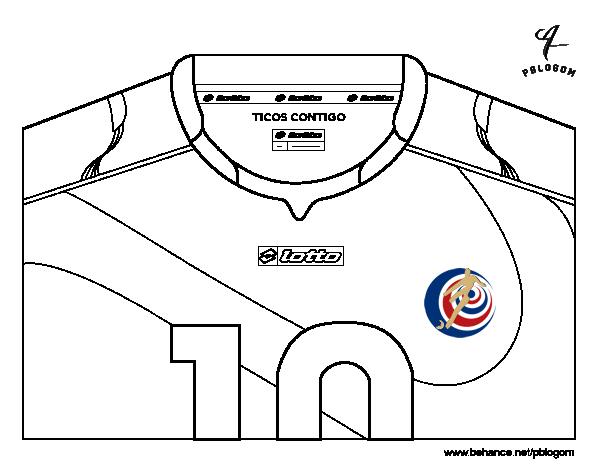 Dibujo De Camiseta Del Mundial De Fútbol 2014 De Costa Rica