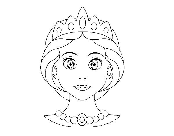 Dibujos De Principes Y Princesas Para Colorear: Dibujo De Cara De Princesa Para Colorear